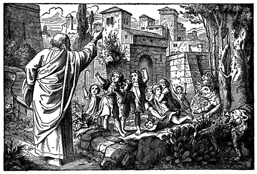 black and white etching of Elisha calling she-bears to maul boys mocking Elisha